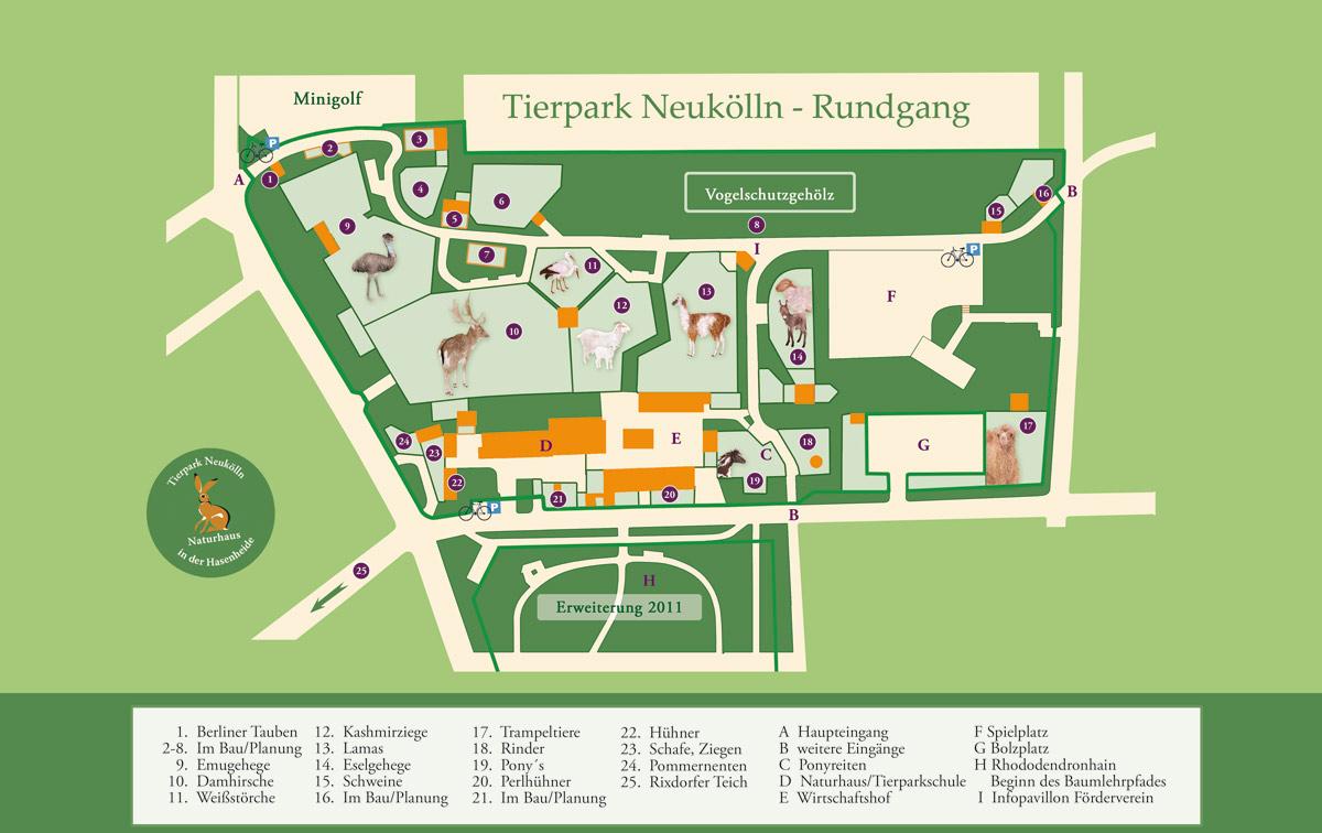 Lageplan Tierpark Neukölln in der Hasenheide 2015